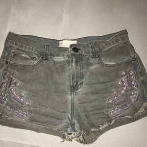 Free People gray denim shorts